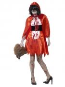 Zombie-Rotkäppchen Damenkostüm rot-weiss-schwarz