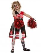 Zombie Cheerleader-Kostüm für Mädchen schwarz-rot-weiss