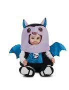 Fledermaus-Babykostüm mit großem Kopf Halloweenkostüm für Babys lila-blau-schwarz