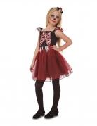 Wunderschöne Skelett-Lady Kinder-Kostüm für Mädchen schwarz-weiss-rot