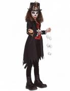 Finstere Voodoo-Schamanin Mädchen-Kostüm schwarz-weiss-rot