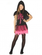 Süßes Skelett-Kostüm für Mädchen schwarz-pink