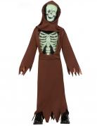 Unheimlicher Skelett-Mönch Kinder-Kostüm braun-schwarz-weiss