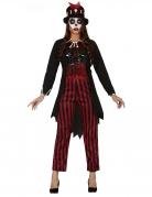 Voodoo Hexenmagier-Kostüm für Damen rot-schwarz-weiss