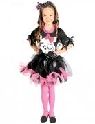 Niedliches Skelett-Kostüm für Mädchen schwarz-weiss-rosa
