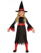 Hexen Halloween-Kostüm für Mädchen schwarz-rot