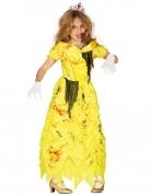 Zombie-Prinzessin Kostüm für Mädchen gelb schwarz-rot