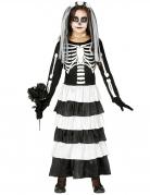 Skelett-Braut Kinder-Kostüm für Mädchen schwarz-weiss
