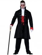 Graf Nackenbiss Herren-Vampirkostüm schwarz-weiss-rot