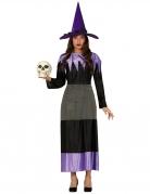 Schickes Hexenkostüm für Damen schwarz-grau-violett