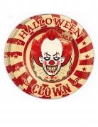 Horrorclown-Pappteller für Halloween 8 Stück bunt 23 cm