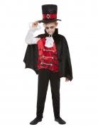 Edles Gothic-Vampirkostüm für Jungen schwarz-rot-weiss