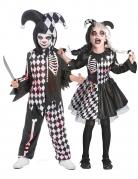 Psychoclown-Paarkostüm für Kinder schwarz-weiss-rot