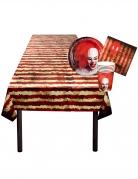 Horrorzirkus Tischdeko-Set für Halloween 25-teilig rot-weiss-schwarz