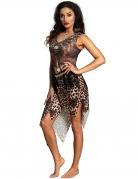 Voodoo-Schamanin Damen-Kostüm für Halloween braun-weiss