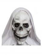Sensenmann Schädel-Latexmaske für Erwachsene weiss-schwarz