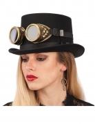 Klassische Steampunk-Brille schwarz-gold