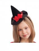 Haarband mit Mini-Hexenhut Halloween-Accessoire für Kinder schwarz-rot 13 cm