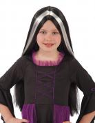 Gothic-Dame Kinder-Perücke für Halloween schwarz-weiss