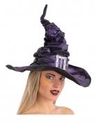 Zerknitterter Hexenhut für Damen violett-silberfarben 42 cm