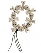 Skelett-Armband Totenköpfe und Knochen weiß-schwarz