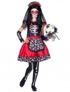 Tag der Toten Kinder-Kostüm für Mädchen schwarz-weiss-rot