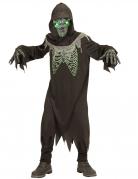 Schauriges Sensenmann-Kinderkostüm mit Leuchtmaske schwarz