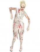 Miss Zombie-Kostüm für Damen Halloween-Kostüm für Damen silber-rot
