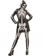 Heisses Skelett-Damenkostüm Halloween-Kostüm schwarz-weiss