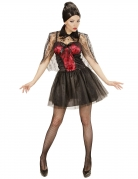 Elegantes Vampir-Damenkostüm Halloween-Kostüm schwarz-rot