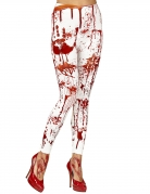 Blutige Leggings für Damen Halloween-Accessoire weiss-rot