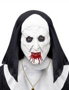 Horror-Nonne Halbmaske für Damen schwarz-weiß-rot