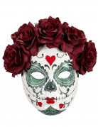 Glitzernde Sugar Skull-Maske für Damen weiß-rot-grün