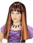 Hexenperücke für Mädchen mit coolen Strähnen schwarz-orangefarben