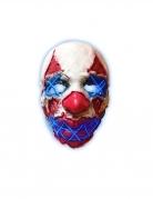 Unheimliche Horrorclown LED-Maske für Erwachsene rot-blau-weiss