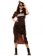 Steampunk-Kostüm für Damen schwarz-braun