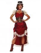 Steampunk-Kleid Saloon-Dame-Kostüm rot-braun-weiss