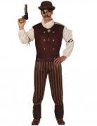 Steampunk-Kostüm für Herren Gentleman braun-rot