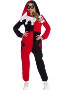 Harley Quinn™-Damenkostüm Overall Halloweenkostüm schwarz-rot