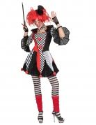 Harlekin-Damenkostüm Halloween-Kostüm rot-weiss-schwarz