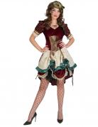 Steampunk-Kleid Steampunk-Kostüm für Damen rot-beige-türkis