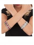 Mittelalter-Schmuck für Erwachsene Armband Kostüm-Acccesssoire silbern-rot
