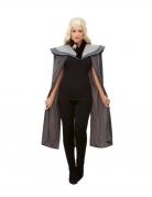 Mittelalter-Umhang Königin der Drachen grau