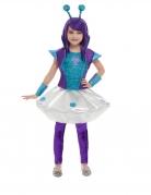 Alien-Kostüm mit Haarreif Mädchen Space türkis-lila-silbern