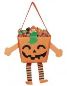 Fröhliche Kürbistasche für Kinder Happy Halloween orangefarben-schwarz-grün 17 cm