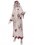 Pentagramm-Nonnen-Kostüm für Damen Halloweenkostüm weiss-rot