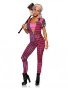 Hochwertiges Killer-Harlekinkostüm für Damen pink-rot-schwarz