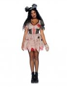 Sexy Voodoo-Puppe Halloween-Damenkostüm schwarz-rosa-rot