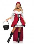 Rotkäppchen Horror-Märchenkostüm für Halloween weiß-scharz-rot