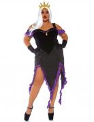 Unterwasser-Bösewichtin Seehexe Damenkostüm schwarz-violett-goldfarben